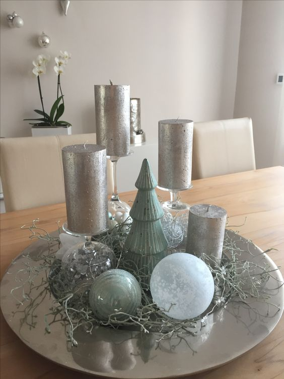 Christmas decoration on a silver platter