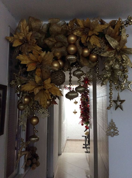 Christmas garlands with gold colored balls