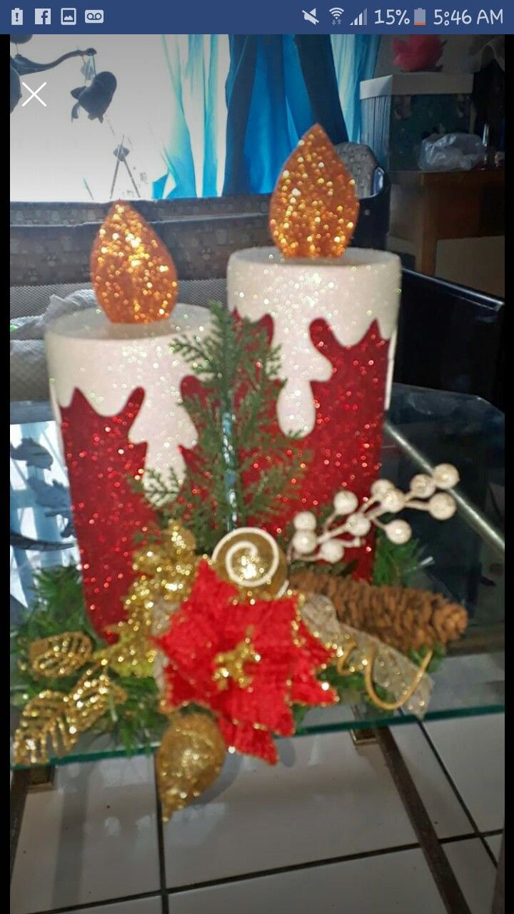 Christmas centrepieces with foamy candles