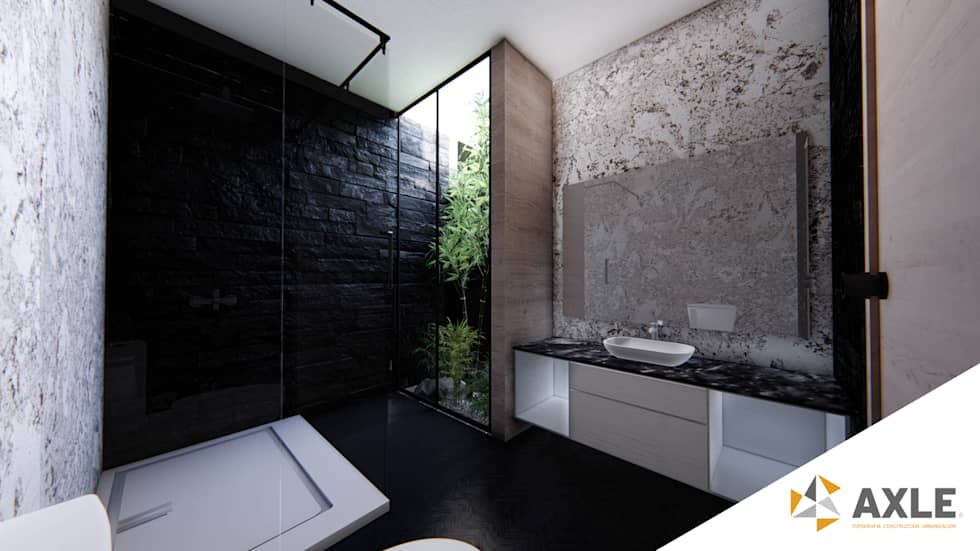Project for a modern contemporary style residence master bathroom