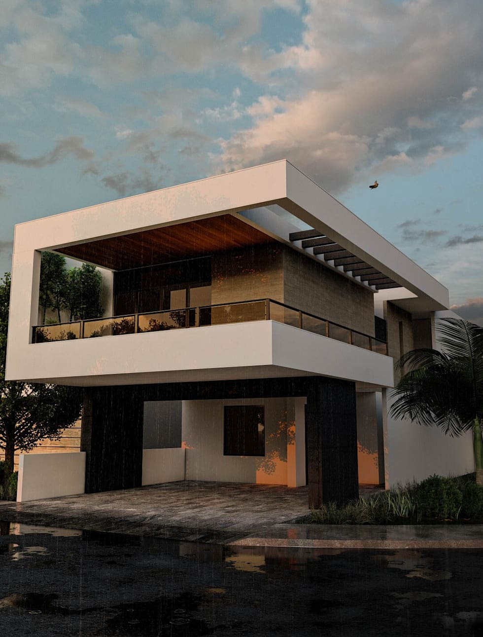 Project for a modern style contemporary residence facade