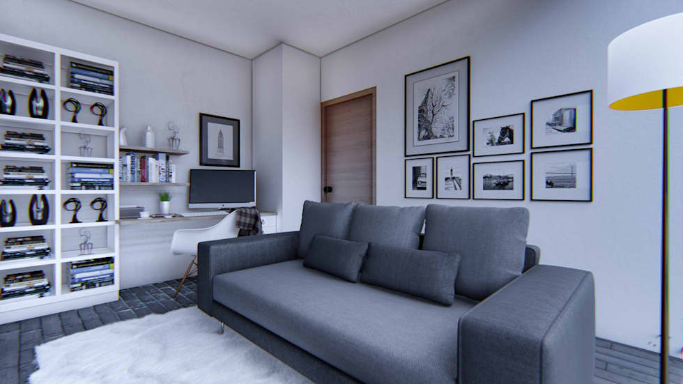 Project for a contemporary modern style residence living room