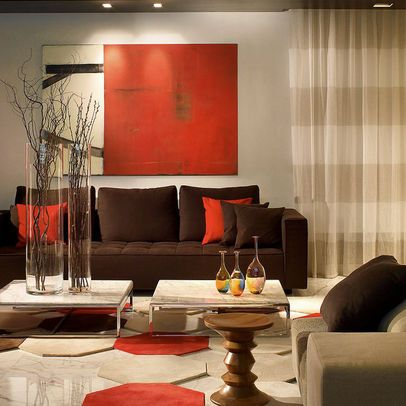 Red and coffee interior decoration