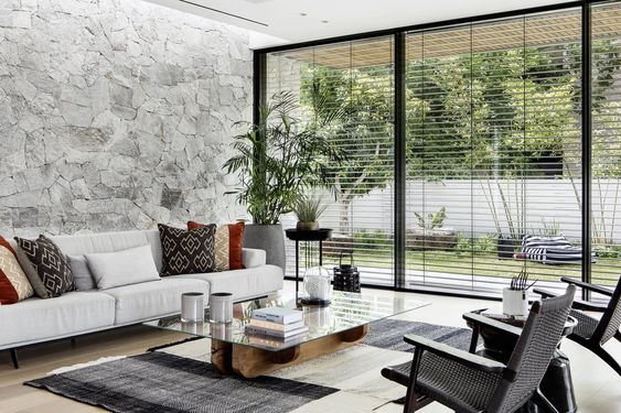 Living room layout with side garden