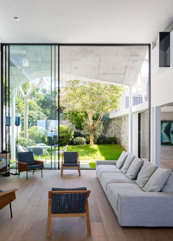 Trend in rooms with a side garden